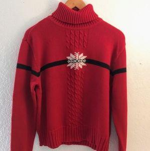 LIZ CLAIBORNE Snow flake Christmas red sweater